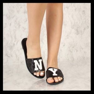 NY Black Wording Patch Slip On Glitter Sandals! nw